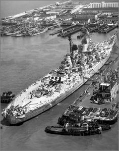 Birdseye view of the battleship USS Missouri in Norfolk, 1951