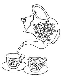 Rose Tea Set coloring page