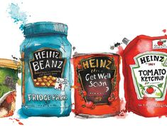 Wall 57 for Heinz - Georgina Luck Georgina Luck, Food Illustrations, Illustration Art, Gcse Art Sketchbook, Food Artists, Identity Art, Amazing Drawings, Vintage Artwork, Good Enough To Eat