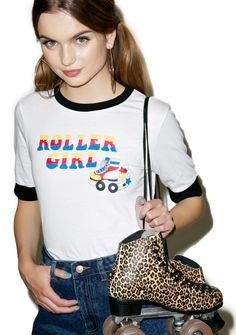 Glamorous Roller Girl Ringer Tee we will meet cha in the middle of the floor. Lets boogie bb, this cute little short sleeve t-shirt is perfect with its vintage inspired roller skate graphic, relaxed fit and contrasting trim. Roller Skate Shoes, Roll Neck Top, Love T Shirt, Tee Shirt, Ringer Tee, Vintage Fashion, Vintage Style, Vintage Inspired, Glamour