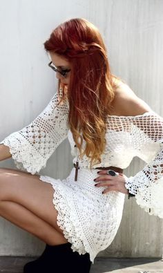 Boho lace dress. I am in LOVE with this! It looks sooo good with the necklace and boots!!!!