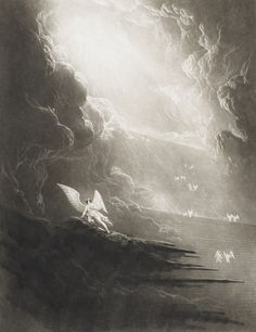 John Martin - Paradise Lost - Satan Viewing the Ascent to Heaven (Book Gustave Dore, John Milton Paradise Lost, Lost Paradise, Illustrations, Illustration Art, Heaven Book, Arte Obscura, Demonology, John Martin