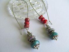 Turquoise Coral Earrings Silver Hoop Earrings Southwest