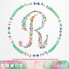 Letter r, floral r, monogram r, initial r, letter clip art, Letter Download, printable letter, floral font, watercolor letter, wtercolor r