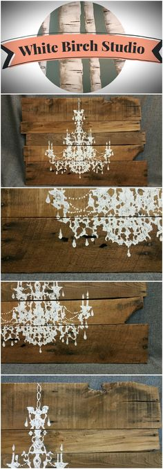 Chandelier Painting Pallet Wall Art, Shabby Chic, Reclaimed Distressed, hand painted, ORIGINAL, One-of-a-kind, Baby Girl Nursery  This large, unique piece is 31 in.wide x 22 in tall. It is hand painted (not stenciled) in a free-form, shadow appearance. It has been stained with a natural water-based stain.  It would be a unique, personal touch to any room in your home. It also would be a great shabby-chic accent to your little girl's bedroom or nursery.