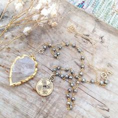 DUYA - Boho Raw Crystal Arrowhead | Pyrite | Feng Shui Coin | Necklace (132.00 CAD) by standingoaccessories