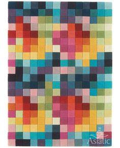 Asiatic Funk Multi-Colour Block Wool Rug