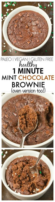 Healthy 1 Minute Peppermint Chocolate Brownie with an optional hint of mint- SO moist, fudgy and loaded with chocolate flavor but with NO butter, oil, sugar or white flour- Oven option too! {vegan, gluten free, paleo recipe}- thebigmansworld.com