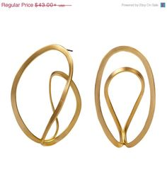 Gold Dangle Earrings Loop Earrings by PazitKeidarDesign