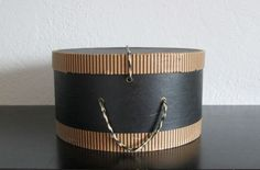 Vintage Black and Cream Round Hat Box Shabby Cottage Chic Storage AtomicPutz.com