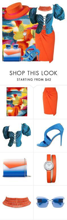 """Blue & Orange"" by georgine-d ❤ liked on Polyvore featuring Miss Selfridge, Yves Saint Laurent, Gianvito Rossi, Jimmy Choo, Baume & Mercier and Miu Miu"