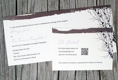 You could add a QR code to your invitations for the ultimate 21st-century map. Guests simply scan the code, like the one on this Mightyvites invitation, to access a Google map link or your wedding web site with directions. @Four Seasons Bridal