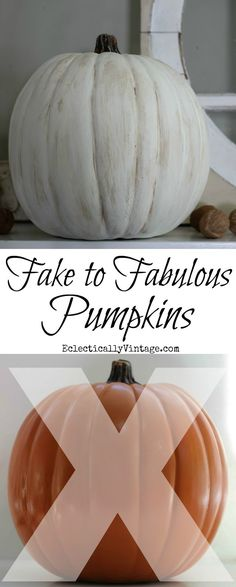 How to Make Plastic Pumpkins Look Real! How to Make Plastic Pumpkins Look Realistic in minutes Fake Pumpkins, Plastic Pumpkins, Painted Pumpkins, Thanksgiving Crafts, Thanksgiving Decorations, Fall Crafts, Fall Decorations, Halloween Centerpieces, Halloween Decorations
