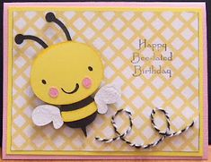 Happy Bee-lated Birthday Card...with My Pink Stamper stamps and Sew Easy...from http://www.craftingcricutmom.com/2012/01/happy-bee-lated-birthday.html