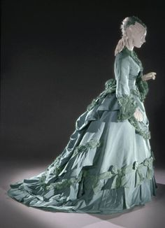 Early 1870s, France  Dress by Charles Frederick Worth Pale turquoise silk satin Philadelphia Museum of Art