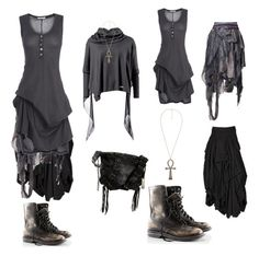 """""""dark mori grey"""" by charliecraft ❤ liked on Polyvore featuring H&M, AllSaints, Bohemian Society, Ann Demeulemeester and Botkier"""