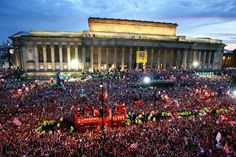 Champions League Final 2005 Liverpool V AC Milan Celebration in Liverpool Premier League Soccer, Premier League Champions, Liverpool Football Club, Liverpool Fc, St Georges Hall, Liverpool City Centre, Great Comebacks, Liverpool History, Everton Fc