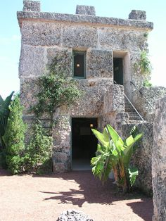 "Ed's Tower. Below is the entrance to the tool room, and to the right are the 16 steps leading to Ed's room above. When you walk in Ed's room, on the left, are the ""secret to the universe"" numbers carved into the coral. Homestead Florida, Coral Castle, Nicolas Tesla, Tool Room, Sunshine State, Gate, Entrance, Places To Go, Numbers"