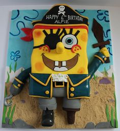 Pirate Spongebob by Pauls Creative Cakes Spongebob Birthday Party, Boy Birthday, Pirate Birthday, Pirate Party, Birthday Cakes, Birthday Ideas, Fancy Cakes, Cute Cakes, Character Cakes