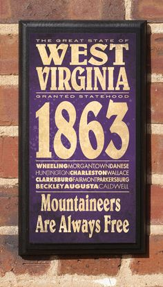 The State of West Virginia Customaizable Vintage Style Wall Plaque / Sign via Etsy