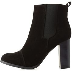 Charlotte Russe Black Chunky Heel Chelsea Booties by Charlotte Russe... ($41) ❤ liked on Polyvore featuring shoes, boots, ankle booties, black, black ankle booties, black ankle bootie, black booties, black bootie and short boots