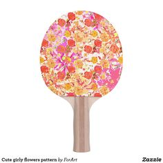 Shop Cute girly flowers pattern ping pong paddle created by ForArt. Ping Pong Paddles, Hardwood, Two By Two, Girly, Flowers, Cute, Pattern, Prints, Gender