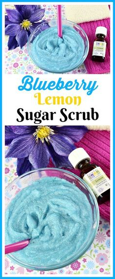 DIY beauty recipe - Blueberry Lemon Sugar Scrub- You don't have to use additives to make your own colorful DIY beauty product! Here's how to make an aqua colored blueberry lemon sugar scrub! Body Scrub Recipe, Sugar Scrub Recipe, Diy Body Scrub, Diy Scrub, Zucker Schrubben Diy, Diy Beauté, Sugar Scrub Homemade, Lemon Sugar, Lemon Butter