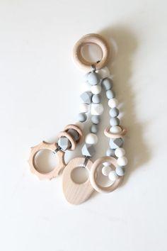 Light grey baby gym toys / Set of 3 toys / by ZanesCrochetTreasure