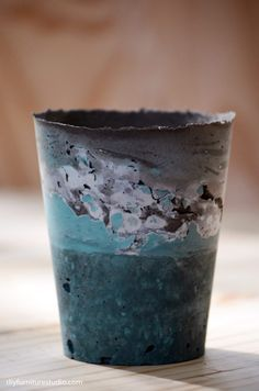 Learn how to make colorful cement vases and other decor using latex paint as a colorant in the cement mix.