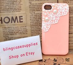 White lace acrylic pearl  High-quality honey peach cell phone case for iphone 4s apple skins. $13.00, via Etsy.