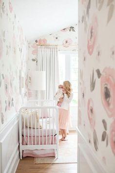 Anewall Jolie Wallpaper http://theglitterguide.com/2016/06/15/touring-monika-hibbs-oh-so-sweet-blush-pink-nursery/