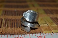 Hand Hammered / Made Wide Silver Spoon Leaf Design Ring Size 8.5 - 9 HHMW3 #Handmade #vintagespoonring