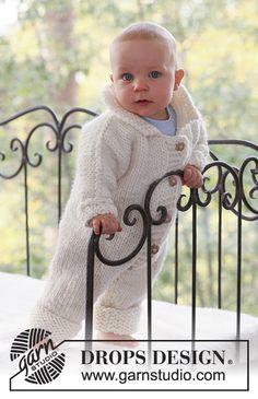 Mameluco de punto para bebé con mangas sin costuras en DROPS Eskimo