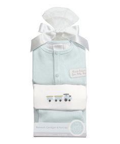 Look what I found on #zulily! White & Light Blue Heaven Sent Bodysuit & Pants Set - Infant #zulilyfinds