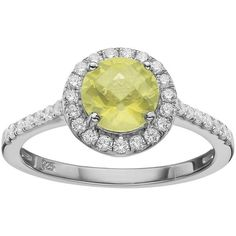 Rebecca Sloane Lemon Quartz & Cubic Zirconia Platinum Over Silver Halo... ($225) ❤ liked on Polyvore featuring jewelry, rings, yellow, pave ring, round cut rings, silver pave ring, silver jewelry and cubic zirconia rings