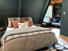 How Japanese Interior Layout Could Boost Your Dwelling Our Moody A-Frame Bedroom With Cozy Layers - Chris Loves Julia A Frame Cabin, A Frame House, Bedroom Frames, Bedroom Decor, Nautical Bedroom, Bedroom Ideas, Trundle Bed Mattress, Loft Wall, Neutral Bedrooms