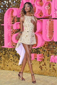 29 June 2016 - Jourdan Dunn showed off her long legs in a gold mini-dress by Antonio Berardi and strappy sandals. - HarpersBAZAAR.co.uk