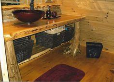 Rustic White cedar Vanity with vessel sink
