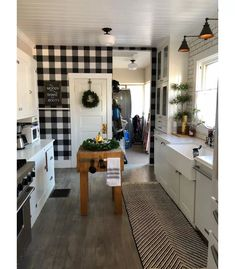 Devine Color Buffalo Plaid Peel & Stick Wallpaper -Black And Lightning : Target – Best of Wallpapers for Andriod and ios Farmhouse Kitchen Decor, Country Kitchen, New Kitchen, Room Kitchen, Parisian Kitchen, Kitchen Counters, Kitchen Islands, Kitchen Flooring, Farmhouse Style