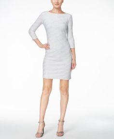 Calvin Klein Glitter Striped V-Back Sheath Dress