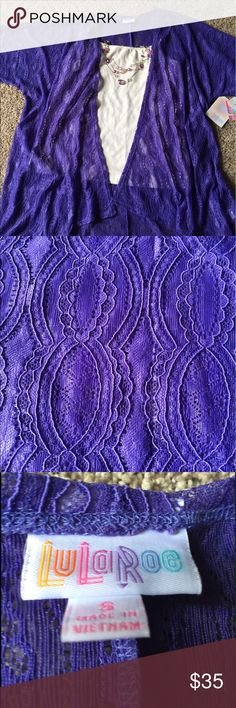 Lularoe Lindsey Small NWT Purple lace pattern. Stretchy material. Paired with leggings in the last picture that are also available with or without the Lindsey, just ask! Feel free to browse around my closet! LuLaRoe Jackets & Coats