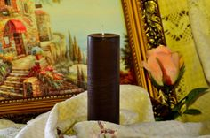 Brown Pillar Candle 2*6'' unscented pillar candle parrafin wax candle wedding candle home decor house decor can be made to order