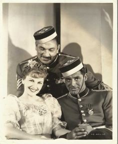 Joan Fontaine, Victor McLaglen and Cary Grant for Gunga Din directed by George Stevens, 1939