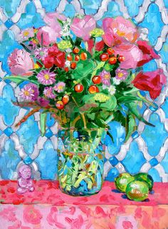 By Margaret Owen, bouquet of flowers with Moroccan tile background, limes and baby Buddah. * A high quality print of my original painting. Painting Still Life, Paintings I Love, Beautiful Paintings, Original Paintings, Flower Paintings, Illustration Blume, Still Life Flowers, Matisse, Blue Tiles