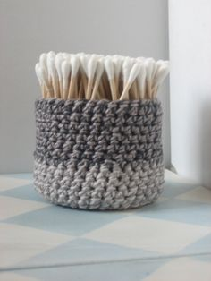 Crochet Basket - Small Bath Accessory, Nest for your pretty things - Melange Stony Greys, Gifts Under 15. $14.00, via Etsy.