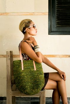 Green Palm Leaf Tote Bag. Orders at adri@sawo-design.com.