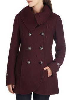 Resort to Style Coat - 3, Red, Buttons, Pockets, Double Breasted, Long Sleeve, Better, Black, Long
