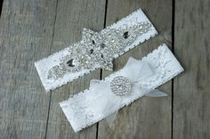 This is a made to order wedding garter with coordinating toss garter. The garter is soft stretch lace available in either white or ivory.