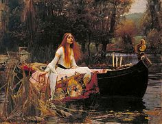 John William Waterhouse: The Lady of Shalott - 1888 Based on a poem of the same name by Lord Tennyson, this painting represents the journey of a cursed women on her way to Camelot, shortly before her own death.
