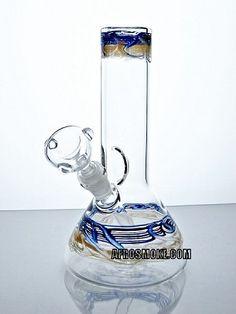 "Travieso 10"" Beaker Water Pipe - Blue & Gold"